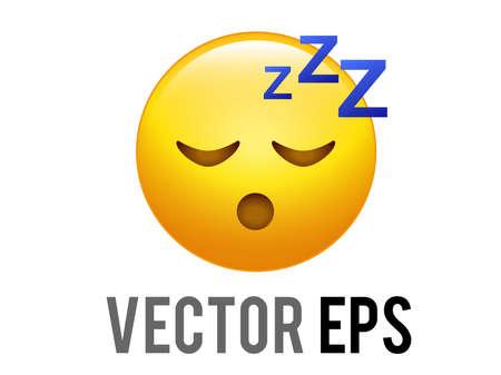 The vector yellow sleepy face icon with ZZZ symbols