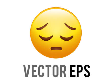 The vector isolated gradient yellow afraid and upset face icon