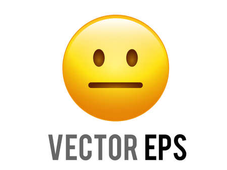 The vector isolated gradient yellow helpless, disappointed and upset face icon