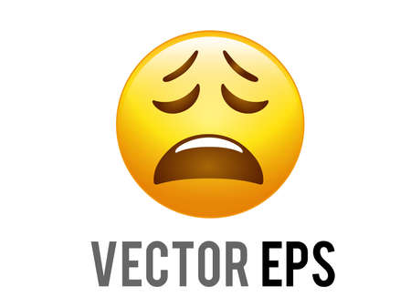 The vector isolated gradient yellow frustration, sadness, amusement and affection face icon with closed eyes, furrowed brows and a broad, open frown.