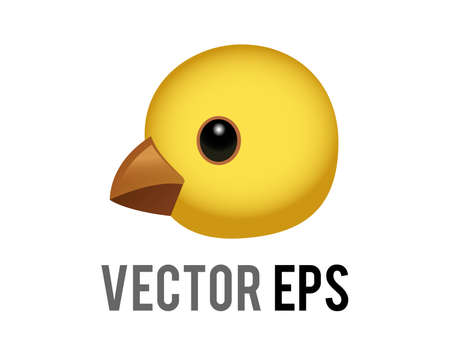 The isolated vector head of yellow baby chicken, chick eye and orange month in side view Ilustracja
