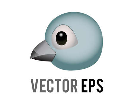 The isolated head of blue generic bird, bluebird or cardinal icon with eye and grey month in side view