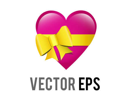 The isolated vector glossy pink heart shaped box icon, tied with a yellow ribbon being a gift box, box of chocolates or jewellery box