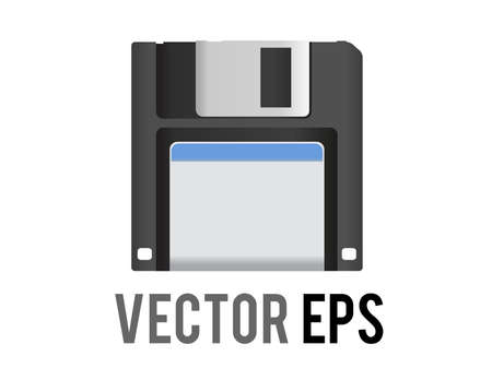 The isolated vector black 3.5 inch floppy disk or save icon with silver shutter positioned up and white label, a data storage format preserved as a Save icon in computer programs