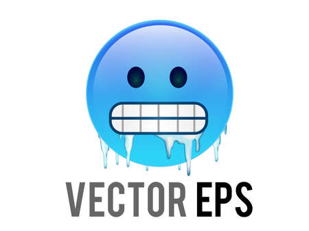 The vector gradient blue cold, freezing face icon with gritted teeth, icicles clinging to cheeks and jaw