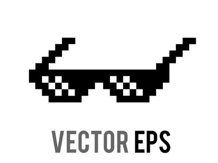 The vector isolated 8 bit pixel cool black sun glasses, sunglasses flat icon