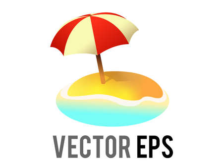 The isolated vector beach island icon, with sun umbrella its shadow, sand and ocean water