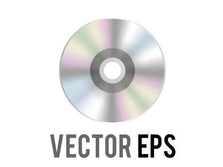 The isolated vector silver optical disc icon, used to represent CD, DVD and related film, music content, albums