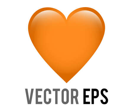 The isolated vector classic love orange glossy heart icon, used for expressions of love, openness, support or friendly intentions with warmth, care and sunshine
