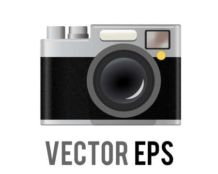 The isolated vector classic profession black, silver casing camera icon with lens, shutter button, view finder and operating controls