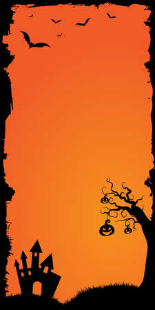 The vector Halloween web banner vertical half page ad size template gradient orange background with bats, pumpkin and castle house