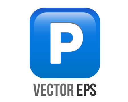 The isolated vector gradient blue P button is the letter P inside square icon, represent parking zones