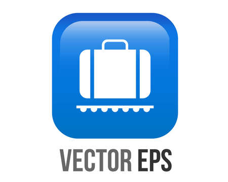 The isolated vector gradient blue baggage claim button square icon 矢量图像