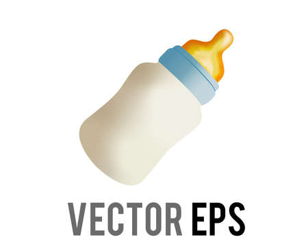 The isolated vector bottle of milk or formula icon with bluish cap and rubber nipple or teat