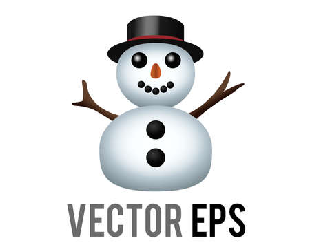 The isolated vector classic snowman made from two large snowballs icon with snowflakes, stick arms, dressed with top hat, carrot nose, coal eyes and three buttons on its torso