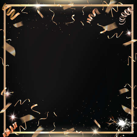The vector black party and celebration square background with golden confetti and border