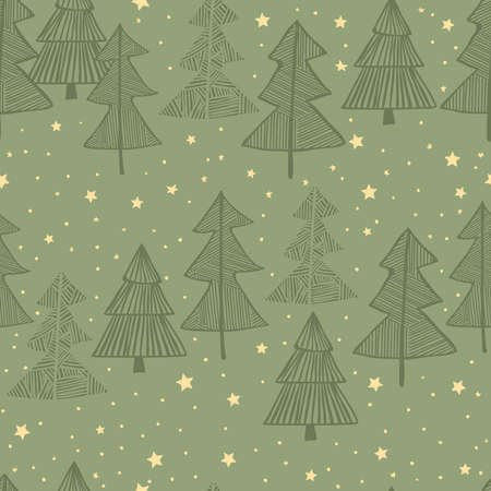 The seamless vector winter oliver green background with drawn tree, star, snow pattern