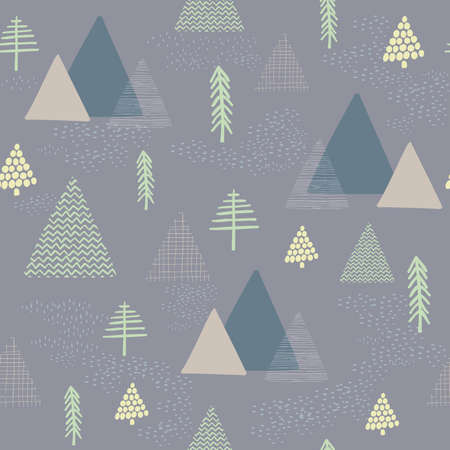 The seamless vector winter oliver green background with drawn tree, mountain pattern