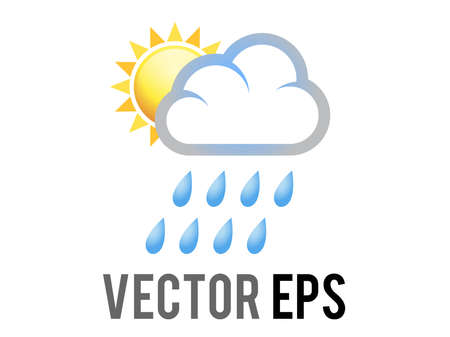 The isolated gradient yellow sun half icon covered by rain white cloud with blue raindrops