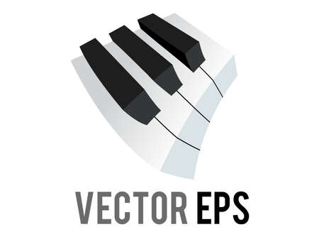 The isolated vector small section of classic music keyboard icon, showing white, black keys Çizim
