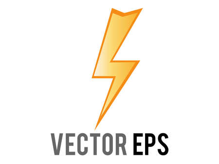 The isolated vector cartoon-styled high voltage, lightning, electricity or various flashes icon, depicted as jagged yellow bolt