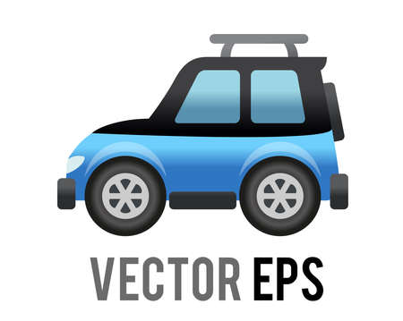 The isolated vector side of blue Sport Utility Vehicle car icon, represents SUV, campervan or motorhome