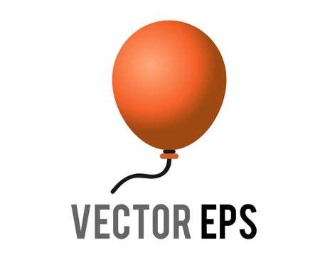 The isloated vector gradient orange air balloon on string icon, congratulations, celebrate happy halloween, birthday Çizim