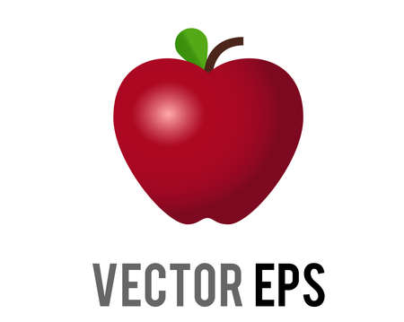 The isolated vector classic red delicious apple icon, shown with stem, single, green leaf