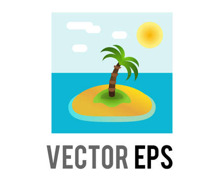 The isolated vector small desert island icon with green coconut tree on beach surrounded by blue water