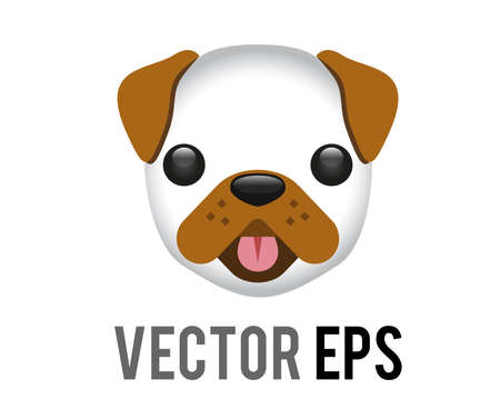 The isolated vector white and brown cartoon styled face of dog icon with tongue hanging out Çizim