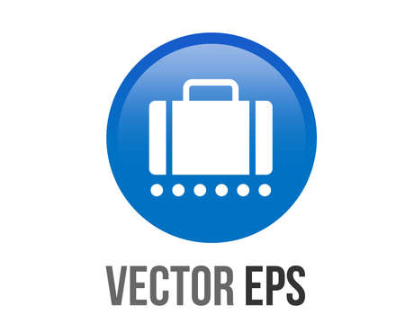 The isolated vector gradient blue baggage claim button square icon Çizim
