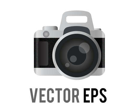 The isolated vector classic profession black, silver Digital Single Lens Reflex dslr camera icon with view finder and operating controls Çizim