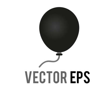 The isloated vector gradient black air balloon on string icon, congratulations, celebrate happy halloween, birthday