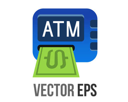 The isolated vector gradient blue ATM button square icon, represent Automated Teller Machine