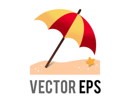 The isolated vector orange, red striped opened beach umbrella on ground icon with sun shadow