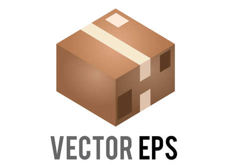 The isolated vector light brown cardboard package box icon with shipping label and taped shut Çizim