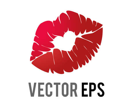 The isolated vector gradient red kiss mark icon with bright lipstick