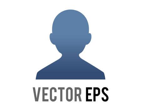 The vector dark blue silhouette generic profile of one person icon , represent a user or member