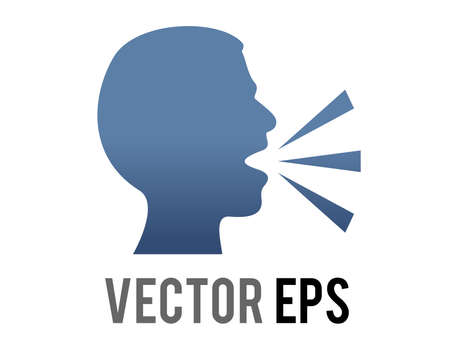 The vector gradient dark blue silhouette of speaking person head icon with lines demonstrating speech being expelled