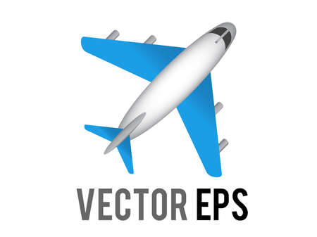 The vector white literal airplane icon with blue wings and engines, represent global air travel or flight mode