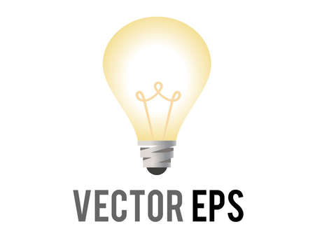 The isolated vector electric light bulb icon incandescent bulb with a silver base with soft, yellow white glow