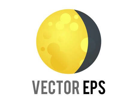 The isolated vector golden yellow full moon icon with thin dark crescent on right side Çizim