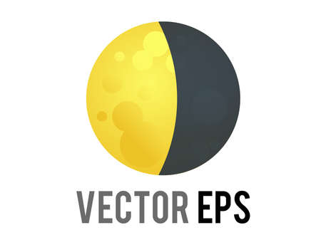 The isolated vector golden yellow half moon icon, represent nighttime, outer space and astronomy