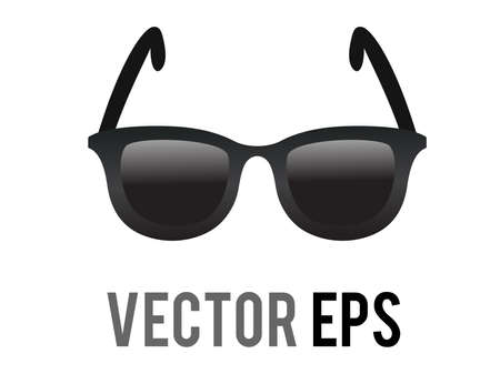 The isolated vector black sunglasses icon, representing cool or leisurely in sunny place