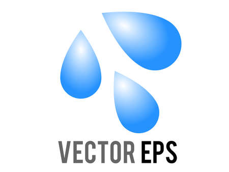 The isolated vector three light blue droplets icon, as sweat beads, splashing down to right Çizim
