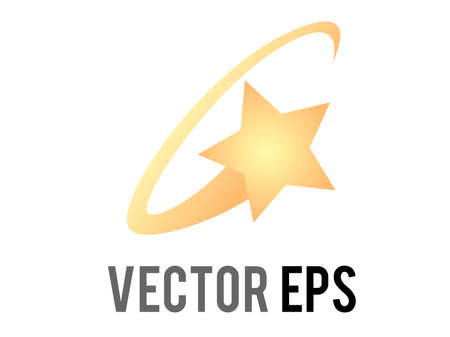 The isolated Vector cartoon-styled stylized star swirling in a yellow ring circle, feeling dizzy cartoon symbol