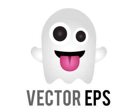 The vector white funny cartoon ghost making silly face icon, tongue is stuck out, arms are outstretched.  Trying to scare someone in friendly way