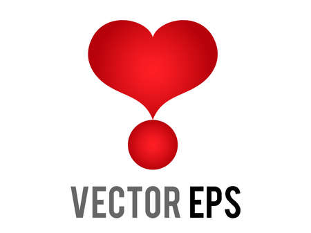 The isolated vector love red glossy love heart exclamation mark icon, used for expressions of love passion and romance