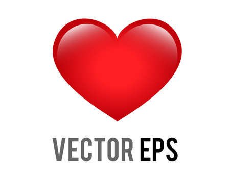 The isolated vector classic love red glossy heart icon, used for expressions of love passion and romance 矢量图像