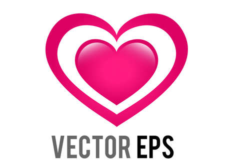 The isolated vector glossy pink love glowing heart icon, Intended to give impression of heart increasing in size 矢量图像